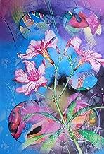 Yankel Ginzburg Flowers Signed Abstract Art Silkscreen Large