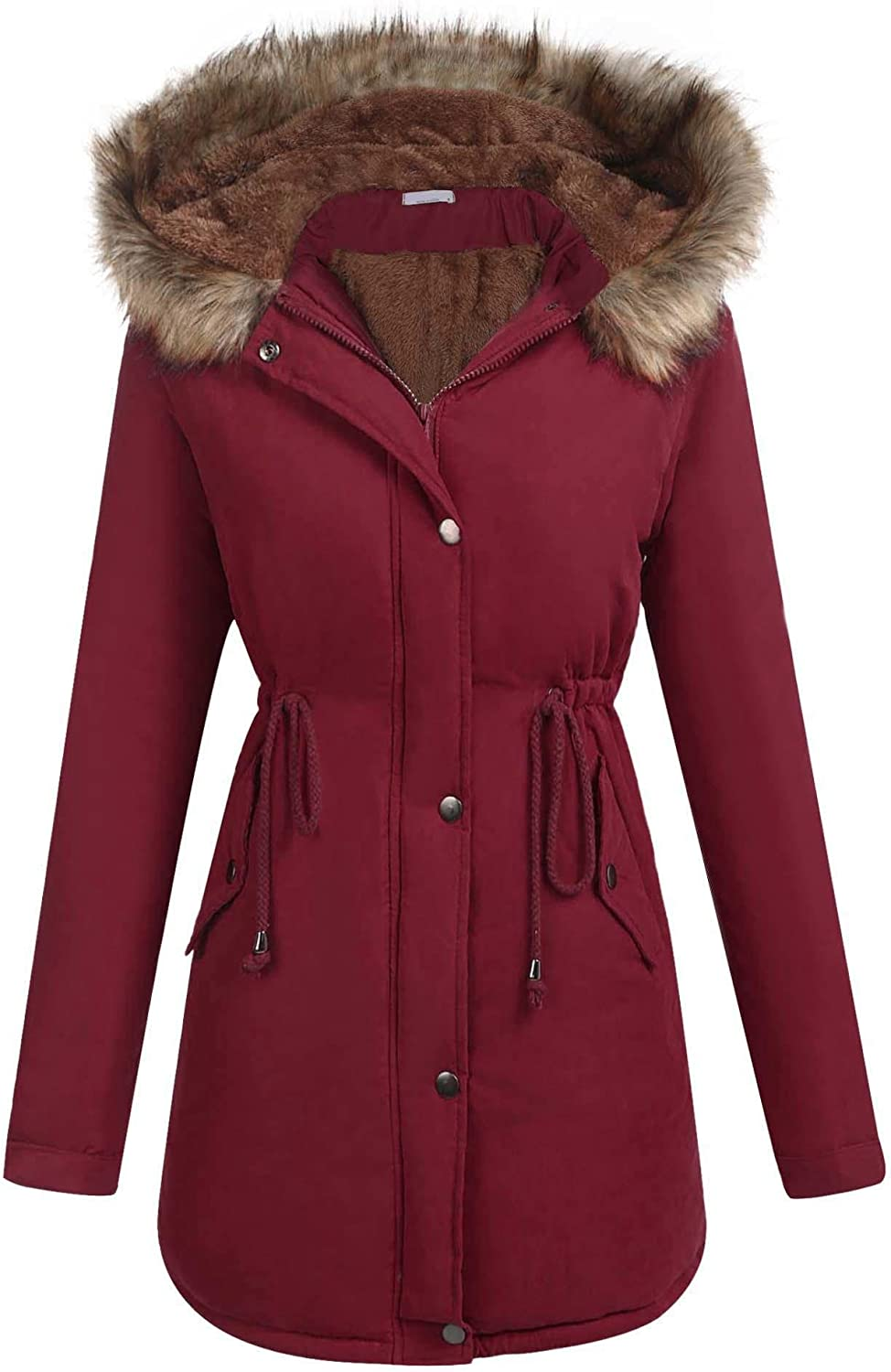 ELESOL Women's Parka Jacket Warm Hooded Winter Anorak Coats Faux Fur Coat