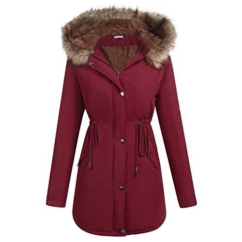9796d9d6605 ELESOL Women s Military Hooded Warm Winter Parkas Faux Fur Lined Jacket  Coats