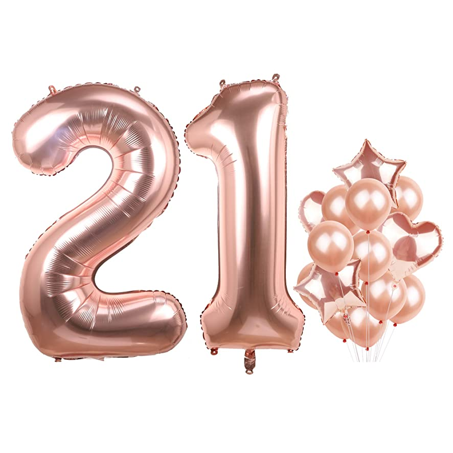 Number 21 Birthday Balloons Rose Gold Big Mylar Foil Helium Balloons Set for Girls Giant 21st Birthday Party Decor
