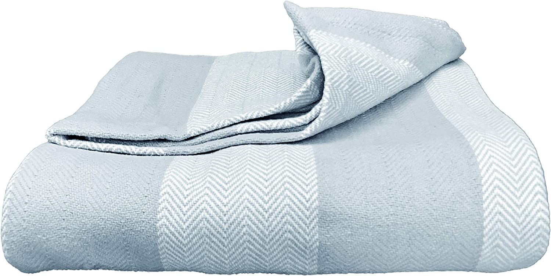 Magnolia Organics Patterned Blanket - King Cal King, bluee Haze