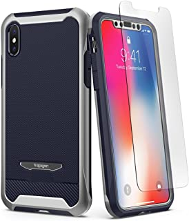 Spigen Reventon designed for iPhone X case/cover - Platinum Silver - Full 360 protection with 2 pc Glass Protector