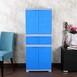 CelloNoveltyTriplex Plastic 2 Door Cupboard with 4 Shelves(Blue and Grey)