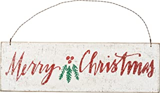 Primitives by Kathy 12 Inches x 3.75 Inches Wire Wood Merry Christmas Decorative Hanging Ornaments