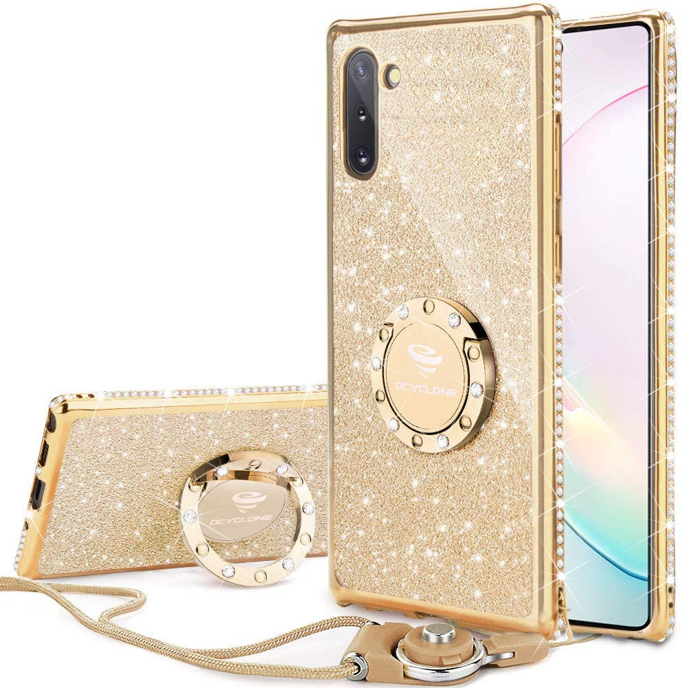 OCYCLONE for Galaxy Note 10 Case, Glitter Luxury Cute Phone Case for Women Girls with Kickstand, Bling Diamond Rhinestone Bumper with Ring Stand Compatible with Samsung Galaxy Note 10 6.3 inch - Gold