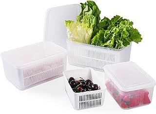 77L Boîtes de Conservation pour Réfrigérateur, (Paquet de 3) Conteneur de Stockage de Frais avec Passoire, Organisateurs d...