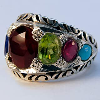 Navratna Multi Stone Handmade Persian Ring | AlAliGems | Ruby Emerald Sapphire Peridot Agate Quartz Turquoise | Silver 925