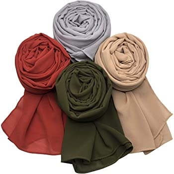 MANSHU 4 PCS Women Soft Chiffon Scarves Shawl Long Scarf Wrap Scarves.