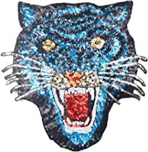 24x24 cm/10x10 inches Appliques Patches Iron On Patterns Print Embroidery Sewing Craft Supplies Machines Designs Logo Cloth Hat Bag DIY Decor (Roaring tiger) blue