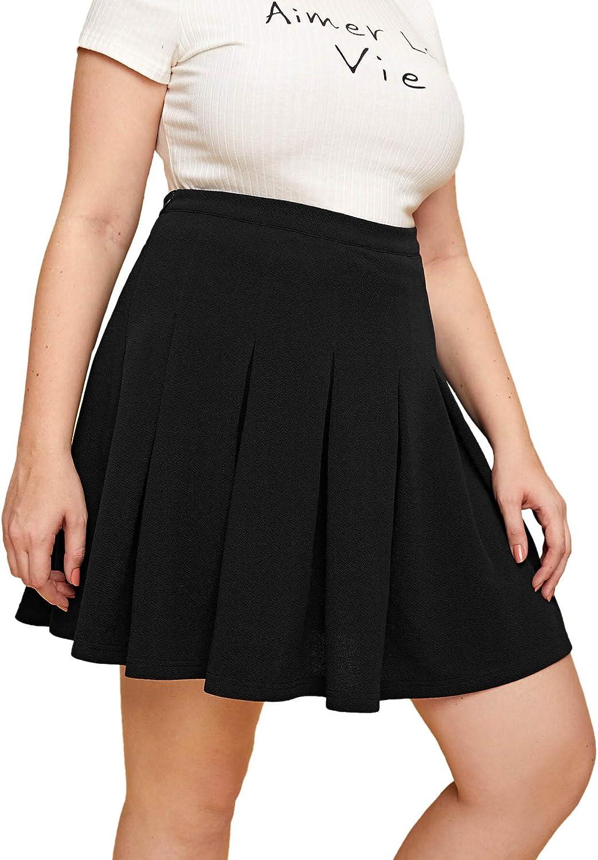 Romwe Women's Plus Size Basic Stretchy Flared High Waist Casual Mini Skater Skirts