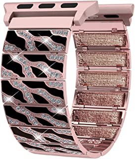 Compatible Apple Watch Band 42mm Women Men, Bling Leopard Print Compatible iWatch Replacement Straps, Length Adjustable Jewelry Wristband Compatible Apple iWatch Series1, 2, 3, Edition, Nike+