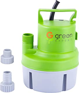 Green Expert 203617 1/6 HP Portable Submersible Utility Pump with Max 1056 GPH Flow Efficiently for Water Removal Basement Flood Drainage Pump, suit to Standard Garden hose, 25 feet Cord