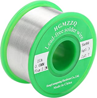 HGMZZQ Lead Free Solder Wire with Rosin Core for Electrical Soldering Sn99 Ag0.3 Cu0.7 100g 0.023inch(0.6mm-0.22lbs)