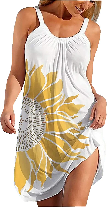 ONHUON Summer Dresses for Women Beach,Womens Dresses Women's Casual Dress Strappy Short Mini Dresses Sexy Party Dress