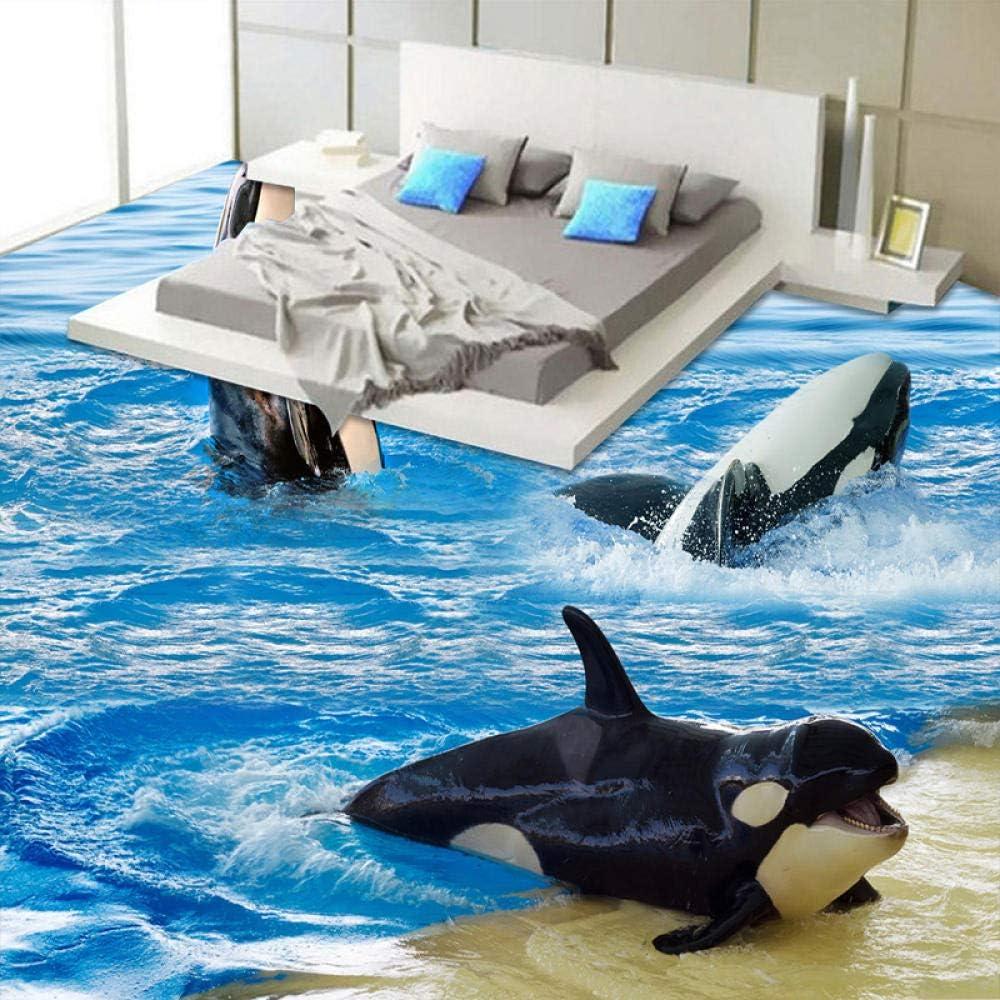 3D Cheap mail Bargain sale order shopping Wallpaper Cartoon Sea Wave Dolphins Tiles Floor Sticke Murals