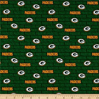 Traditions NFL Cotton Broadcloth Bay Packers Mini Green, Fabric by the Yard