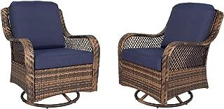 Ulax Furniture Patio Wicker Swivel Glider Chair Outdoor Cushioned Rattan Rocker Rocking Chair (Navy)