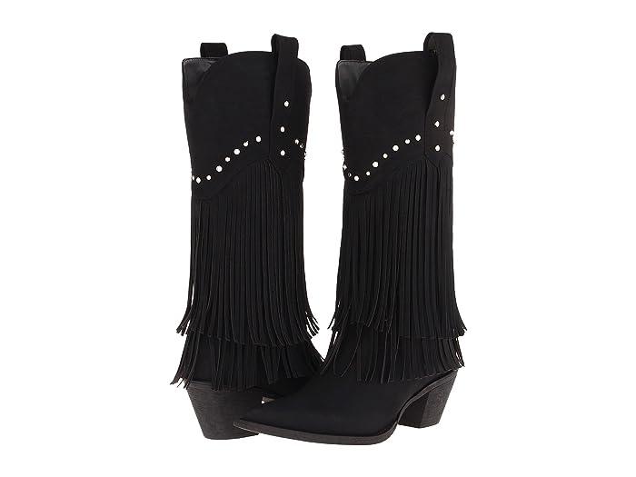 Roper  12 Stud and Fringe Boot (Black/Crystal Stud) Cowboy Boots