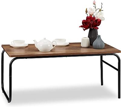 Relaxdays Table Style Industriel, Basse,rectangulaire, Mélange de matériaux, Aspect Bois, pour Salon, Marron/Noir, Panneau de Particules, métal, 40 x 93 x 50 cm