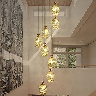 ZYDPDJZM Luz Colgante Lámpara de araña de Doble Escalera Lámpara de Cobre giratoria Lámpara de araña de Villa Lámparas de Sala de Estar. (Color : Gold): Amazon.es: Hogar