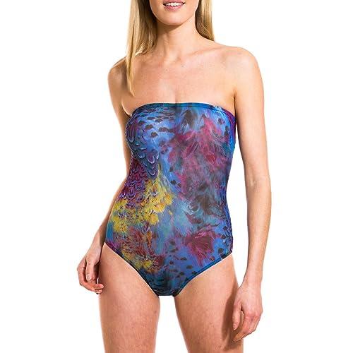 f18d6f732c Kiniki Amalfi Blue Tan Through Tube Swimsuit Swimwear