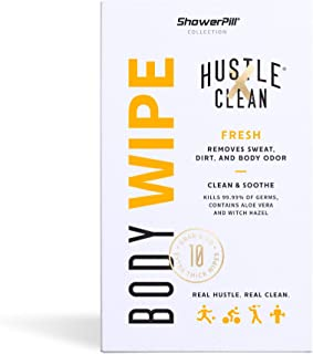 The Body Wipe by Hustle Clean - ShowerPill Collection - No Shower Wipes for Adults for Post-Workout or Camping Bathing - 1...
