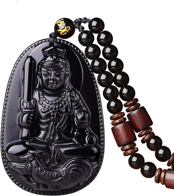 100% Pure Max 69% OFF Obsidian Natural Super popular specialty store Pendant A Zodiac Bodhisattva Necklace