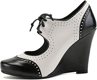 Women's Wedges Dress High Heels Lace-up Cutout Lace Retro Fashion Pump Shoes