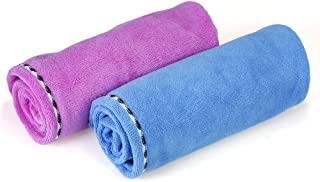 Htovila 2pcs Soft Microfiber Quick Dry Hair Drying Towels Water-Absorbent Dry Hair Cap Bath Shower Wrap Turban Towel with ...