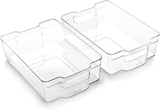 BINO Stackable Rectangular Plastic Storage Organizer Bin, Large - 2 PACK - Clear and Transparent Nesting Container for Hom...