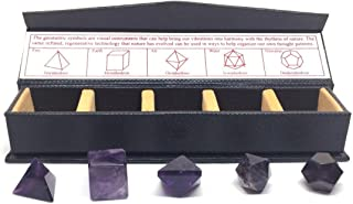 Nelson Creations, LLC Amethyst Sacred Geometry Natural Gemstone Platonic Solids 5 Piece Set with Case
