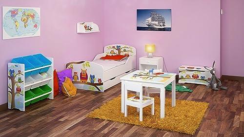 Chambre Pour Un Enfant Motif Hiboux  Ensemble De 6 Meubles Lit Avec Un Matelas Et Un Tiroir Coffre A Jouets Table Avec Chaises Meubles Pour La Chambre Des Enfants Ensemble de Meubles Pour Enfants