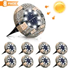 Solar Ground Lights, GLIME 8 LED Disk Solar Lights Solar Ground Lighting Outdoor Upgraded Garden Waterproof Bright In-Ground Lights for Pathway Walkway Driveway Lawn Yard Patio, 8 Pack -White