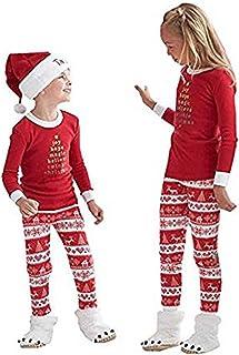 Q&Y Christmas Kids Mom Dad Two Piece Striped Matching Family Pajama Set Sleepwear