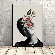 GUDOJK Decorative paintings Nordic Art Posters and Prints Flower Audrey Hepburn Portrait Canvas Painting Wall Pictures For Living Room Artwork Home Decor-60x80cm