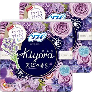 【まとめ買い】ソフィ Kiyora フローラルリラックス 72コ入×2個パック(unicharm Sofy)