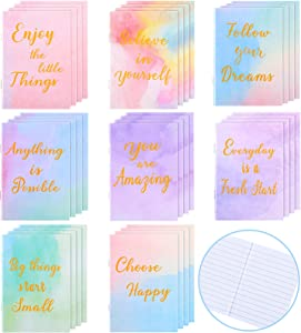 Soft Cover Journal Notepads Mini Motivational Journal Notebook Small Pocket Notebook Steno Inspirational Journals Notepads for School Office Home Travel Present Supplies, 8 Styles (32 Pieces)