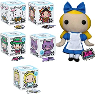 Rabbit Hole Alice Plushies from Disney Alice in Wonderland Plush Doll Bundled with 5 Character Puzzles Cheshire Cat / Alice / Mad Hatter/ White Rabbit / Queen of Hearts 6 Items