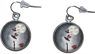 Orecchini pendenti in acciaio inossidabile, diametro 20 mm, fatto a mano, illustrazione Bacio alla Luna