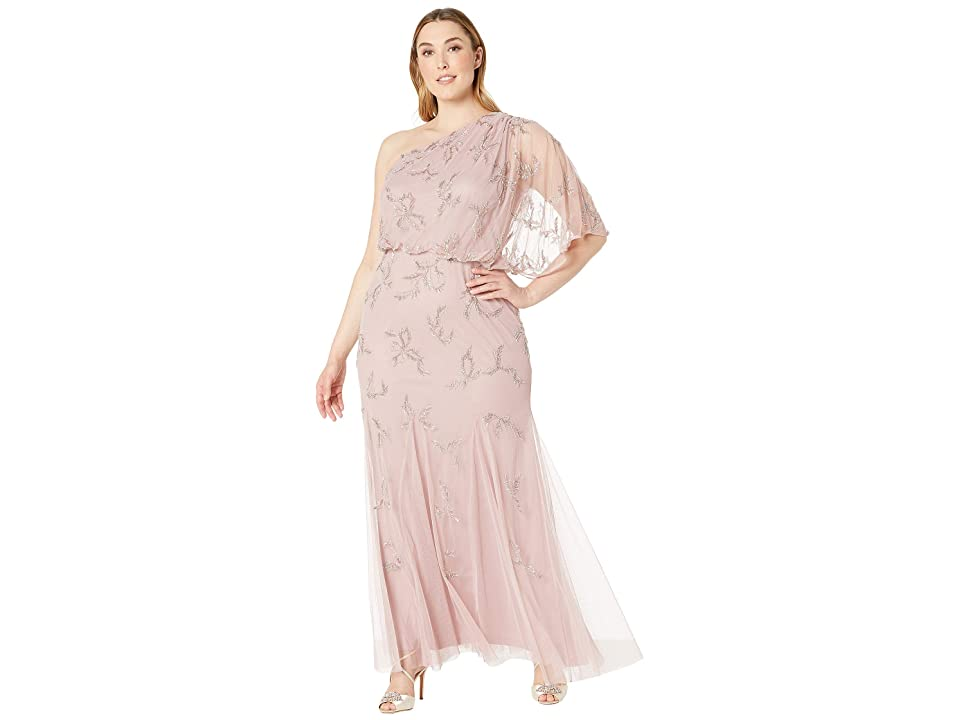 Adrianna Papell Plus Size One Shoulder Beaded Evening Gown (Petal) Women