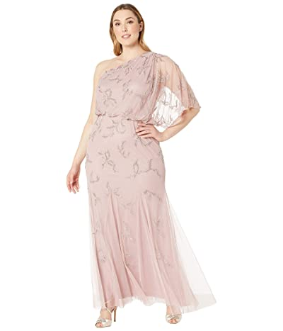d560ecec0 Adrianna Papell Plus Size One Shoulder Beaded Evening Gown (Petal) Women