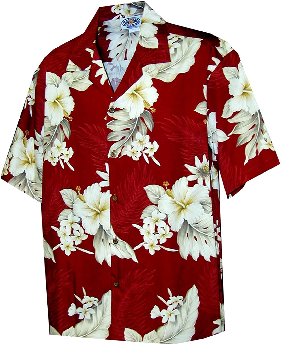Pacific Legend Womens Plumeria Hibiscus Large special price !! Popular product Shirt Camp Feather Fern