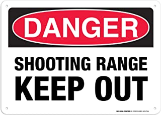 """Danger Shooting Range Sign Keep Out, 10"""" x 14"""" Industrial Grade Aluminum, Easy Mounting, Rust-Free/Fade Resistance, Indoo..."""