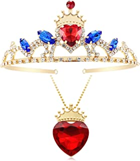 Botrinal Evie Red Heart Necklace and Descendants 3 Crown Gold Tiara Jewelry Set Queen of Hearts Eive Costume for Girls Tee...