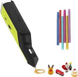 OBEST Stylo 3D, stylo à colle thermofusible, fonctionnement sans fil rechargeable et vitesse réglable, jouets de bricolage...