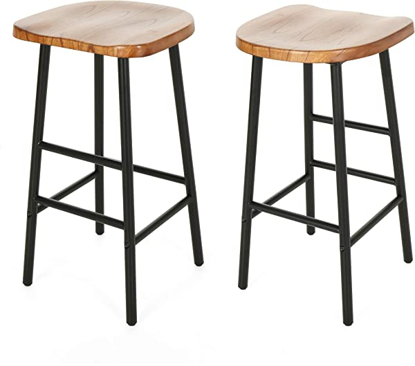 Christopher Knight Home 307503 Jean Bar Stools Pine Veneer Iron Frame Naturally Stained Seats With Black Base Set Of 2