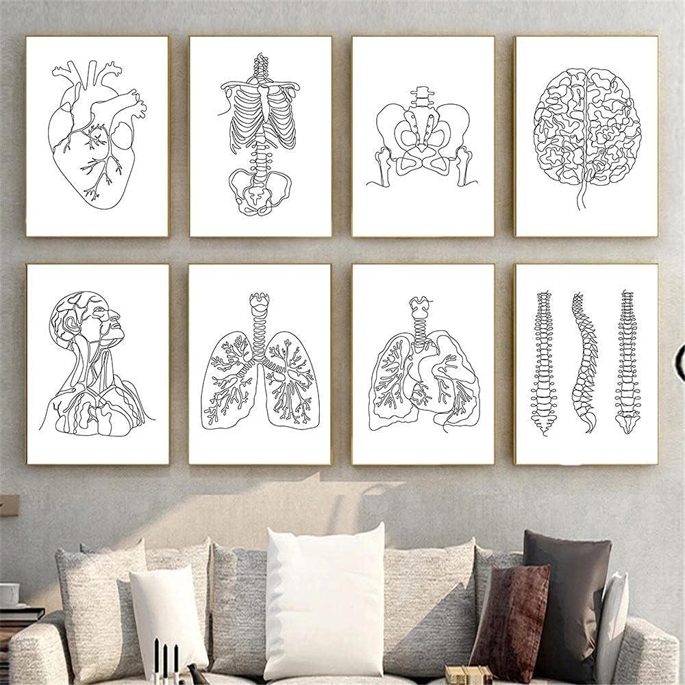 PGMZQHGF Medical Human Anatomy Skeleton Wall Art Brain He Poster Overseas parallel import regular Houston Mall item
