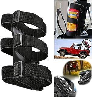 Adjustable Roll Bar Fire Extinguisher Mount Holder 3 lb for Jeep Wrangler JK JKU (Black)