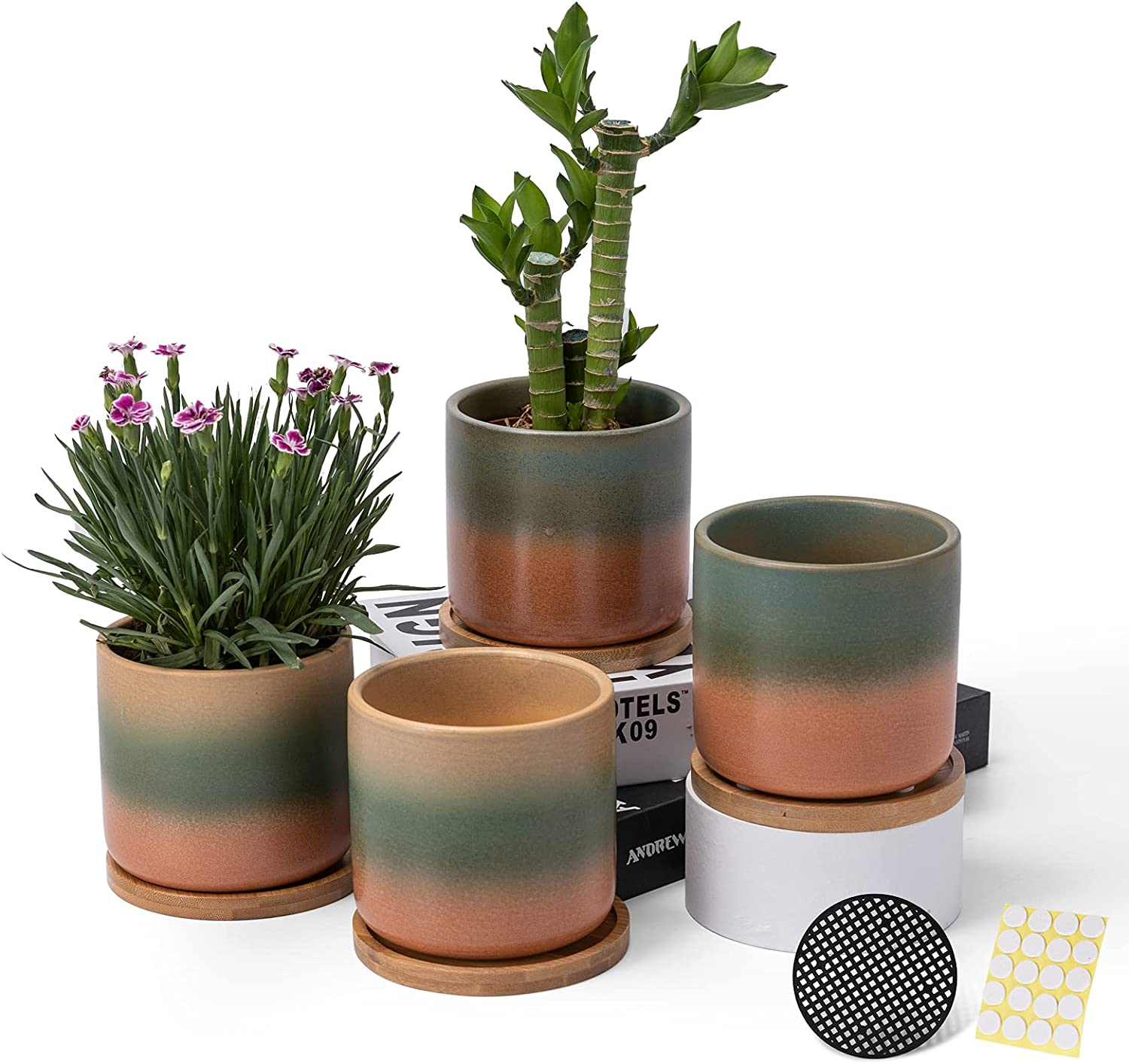 Max 89% OFF 4 Inch Ceramic Plant Pots with Adora and Drainage Holes Long Beach Mall Saucers