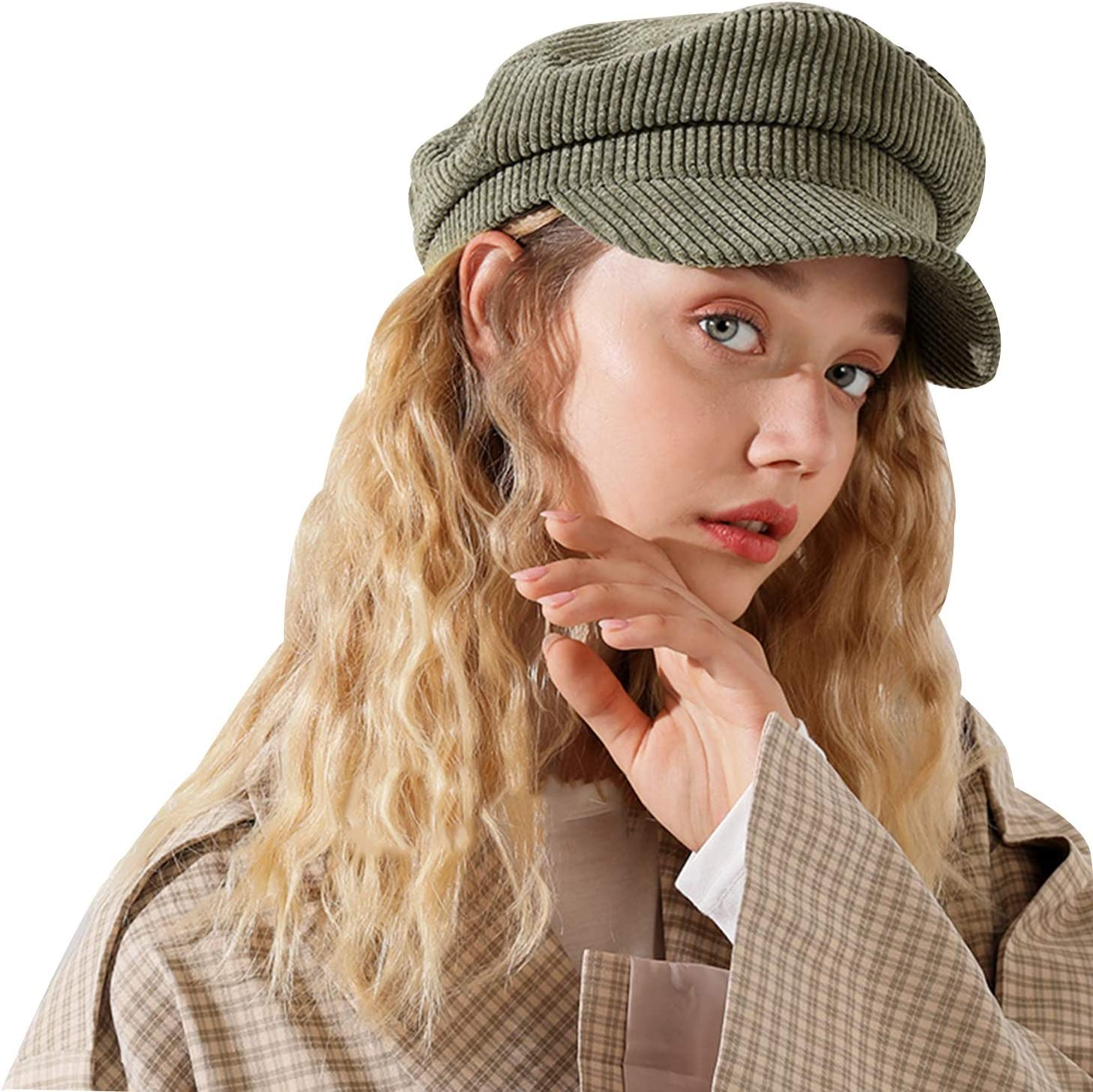 FOLDING Hats Caps Wool Newsboy Hat Winter Hat Visor Beret Cold Weather Knitted (Color : Army Green)